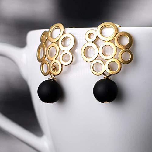Ohrringe gold-schwarz, Retro-Ohrstecker mit Onyx-Perle, rund matt-vergoldet, handmade Geschenk für Sie, moderner Edelstein-Schmuck