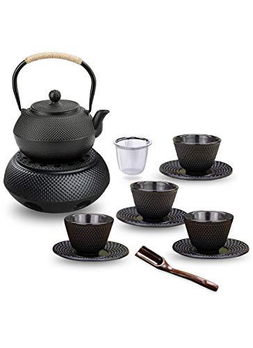 Juego de té de 12 piezas, tetera de hierro fundido, tetera con colador 1.4 litros, calentador, cuchara, colador, 4 tazas de té, 4 posavasos