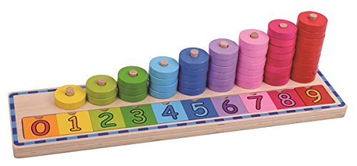 Tooky Toys Wooden Counting Stacker Jeux, TKJH851, Multicolore