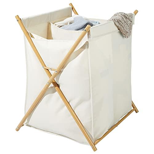 mDesign Cesto plegable para ropa sucia – Bolsa para la colada con 2 compartimentos – Mueble con cesto para ropa sucia extraíble – Organizador de baño de metal y poliéster – crema/natural