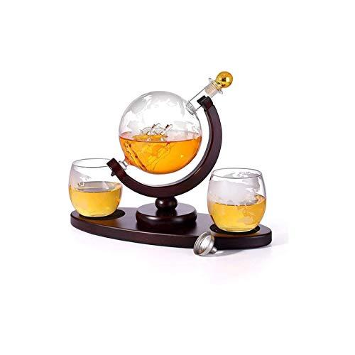 Decantador de vino de cristal hecho a mano, Conjunto de globo de la decantación de whisky de tela de la garrafa con 2 gafas de globo grabado para licor, bourbon, vodka 850ml regalo para hombres (color