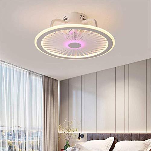 Ventilador De Techo Silencioso Con Iluminación Lámpara De Techo Con Ventilador Led Con Altavoz Bluetooth, Control De APP Y Mando A Distancia, Regulable Araña De Ventilador Para Cuarto Sala,Rosado