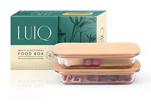 LUIQ 2er Set Aufschnittsboxen aus Glas mit Bambusdeckel (4-teilig) - flach, nachhaltig, stapelbar, luftdicht, hitze- und kältebeständig, BPA frei, als Auflaufform geeignet