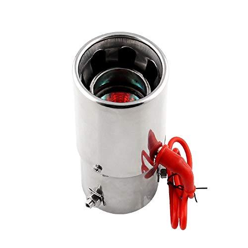 JFYCUICAN Accesorios para el Coche Coche Cola Universal Garganta Rojo Led Tubo de Escape de Escape de Fuego Acero Inoxidable Motocicleta Silenciador Modificación