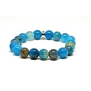 Genuine Blue Dragon Vein Agate Stretch Beaded Bracelet