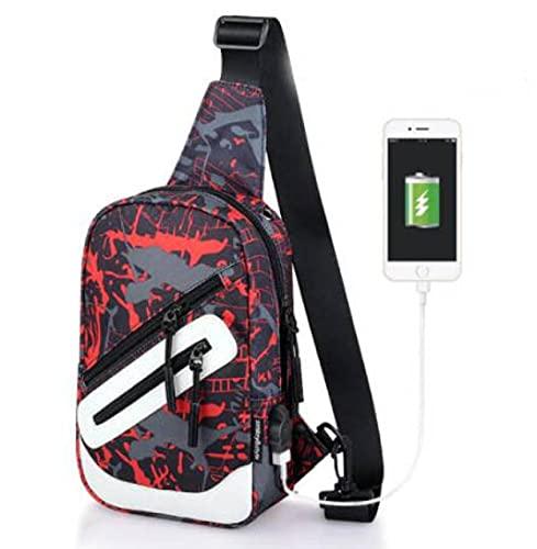 Bolso bandolera NXSI para hombre y mujer, bolso bandolera estampado, bolso de viaje, con puerto de carga USB, grafiti azul gris USB en el interior,