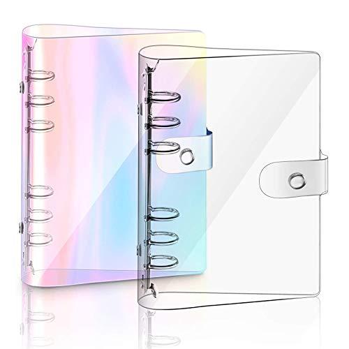 2 Stück A5 Rainbow Soft PVC Notizbuch, nachfüllbares Papier PVC Binder, klar weiche PVC Notizbuchhülle, lose Blätter persönliche Planer Ordner (A5)