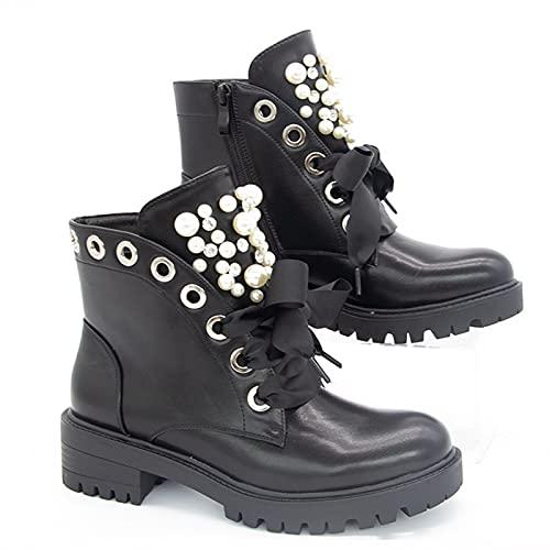 MeiLuSi Botas de combate militares con cordones para mujer, cadena gótica, tachonadas, botines de moto, 2 negro, 39 EU