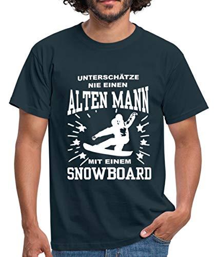 Snowboarder Unterschätze Nie Alten Mann Mit Snowboard Männer T-Shirt, M, Navy