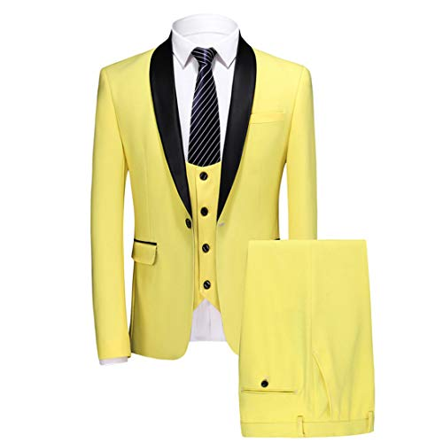 MY'S Mens Plaid 3-Piece Suit Shawl Lapel One Button Tuxedo Slim Fit Blazer Jacket & Trousers & Waistcoat Set, Yellow