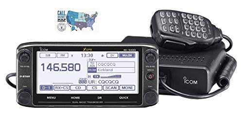 Bundle - 2 Items - Includes Icom ID-5100A Deluxe VHF/UHF Dual Band D-Star Transceiver with Touchscreen and Ham Guides TM Quick Reference Card