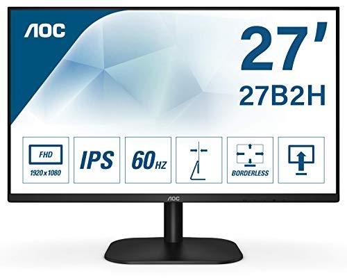AOC 27B2H 68 cm (27 Zoll) Monitor (VGA, HDMI, 1920 x 1080 Auflösung , 75 Hertz, 5 ms Reaktionszeit) schwarz