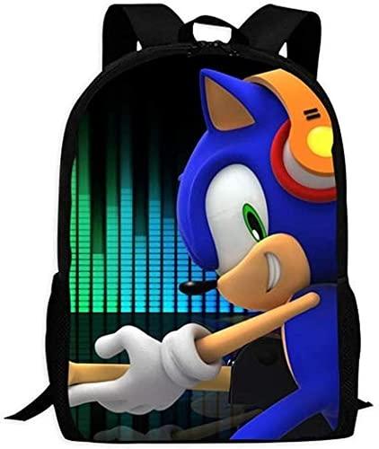 Sonic The Hedgehog Evolution - Mochila ligera para el colegio o portátil, con asa, 3, 16',