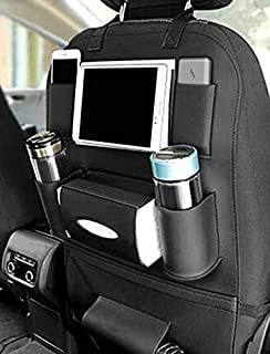 Axmon® Car Back Seat Storage Organizer - PU Leather Car Seat Back Protection [7 Separate compartments] Universal Multi Pocket Backseat Storage Hanger for Mobiles,Bottles,Tissue Box,Magazines (Black)
