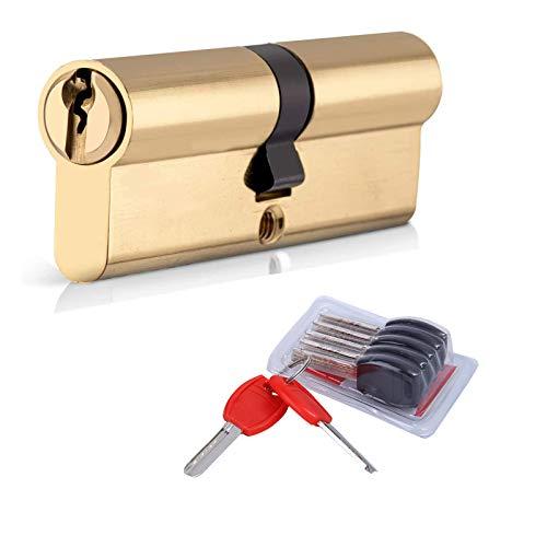 Cilindro de Leva Larga de Cobre,Cilindro de Alta Seguridad,Cilindro cerradura,40 x 40 mm (80mm) Cilindro de doble vuelta para puertas entradas exteriorescon 7 llaves