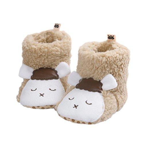 Auxma Baby schönen Herbst Winter warme weiche Sohle Schneeschuhe weiche Krippe Schuhkleinkind Stiefel (13cm(6-12 Monate), Khaki 2)