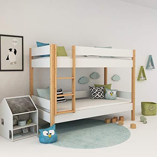 Etagenbett Weiß 90x200, Weisses Doppelbett für Kinder, Stockbett inkl. Lattenrost und Absturzsicherung aus MDF und Buche, Colorland Modules für Kinderzimmer (Weiß)