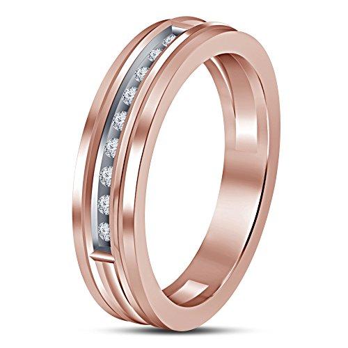 Vorra Fashion Soberbio redonda de plata de ley 925bañado en oro rosa de 14K corte blanco CZ Anillo de banda de la mujer