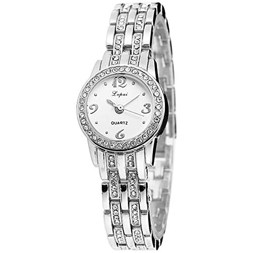 happygirr Reloj de pulsera informal para hombre con correa de malla, reloj de pulsera para mujer, reloj de cuarzo, redondo, analógico, de cuarzo, elegante y creativo.
