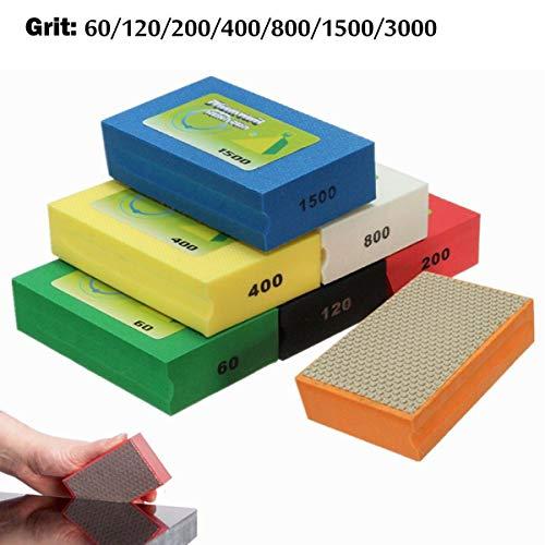 Polijstststeen voor het polijsten van steen, glas, tegels, beton, graniet, marmer, willekeurige kleur, 90 x 55 mm. 60 Grain