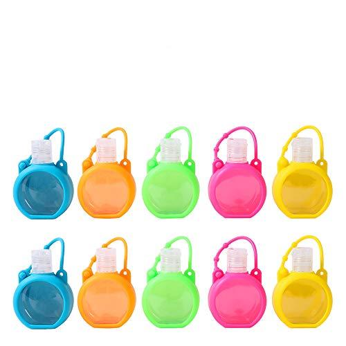 Botellas para desinfectante de manos o cosméticos líquidos, capacidad de 30 ml, con clips, 10 recipientes de viaje