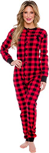 Silver Lilly Oh Deer Buffalo Flannel One Piece Pajamas - Women's Union Suit Pajamas with Drop Seat Butt Flap (Red/Black Plaid, Medium)