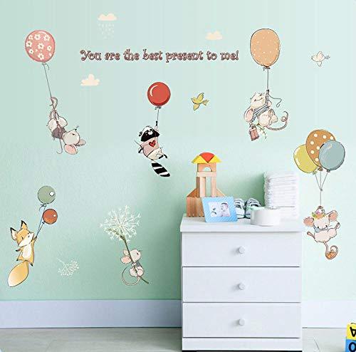 Runinstickers muurstickers, creatief, Nordic balloon muis, dier, waterdicht, knutselen, kinderkamer, muurstickers, vinyl, woonkamer, slaapkamer, decoratie