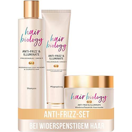 Hair Biology Haarpflege Set: 1x Anti-Frizz & Illuminate Shampoo 250 ml + 1x Pflegespülung 160 ml + 1x Haarmaske 160 ml, Haarpflege Glanz, Haarkur Trockenes Haar, Shampoo Damen, Conditioner