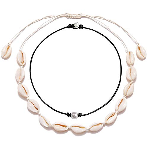 Long tiantian Natural Puka Shell Necklace Bracelet Set Women Bead Pearl Handmade Necklace Hawaii Beach Rope Bracelets Birthday Christmas Seashell Jewelry Gifts for Girls