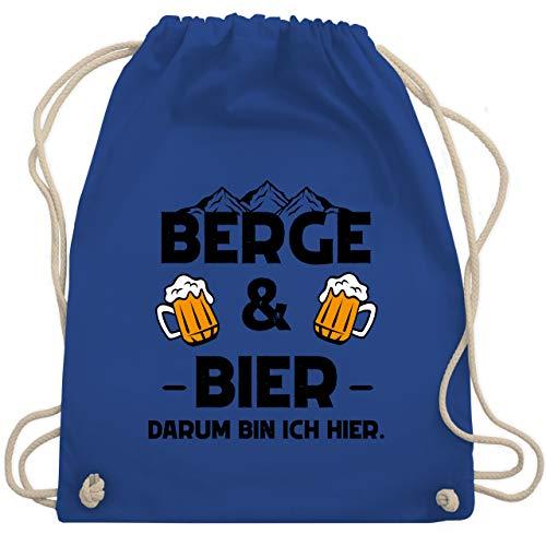 Shirtracer Sprüche - Berge und Bier schwarz - Unisize - Royalblau - Berge - WM110 - Turnbeutel und Stoffbeutel aus Baumwolle