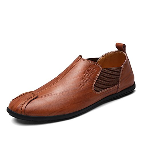 Men's Casual Shoes, Gracosy British Style Premium Genuine Leather Classic Oxfords Shoes, Fashion Driving Shoes – Resin Pattern, Handmake Dark Brown 43 EU