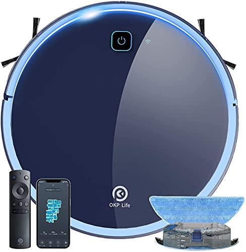 OKP Aspirateur Robot, Aspirateur et Laveur de Sol 3 en 1, Super Aspiration 2200Pa, Débit d'Eau Réglable, Contrôle Avec WIFI/Alexa/App, Idéal pour le Poils d'Animaux/Cheveux/Poussière/Tapis