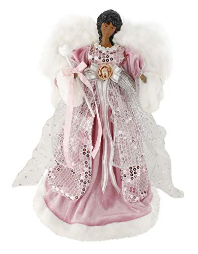 Windy Hill Collection Ethnic Pink Grace 14' Angel African American Christmas Tree Topper or Table Top 514011