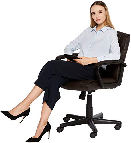 AmazonBasics Leather-Padded, Ergonomic, Adjustable, Swivel Office Desk Chair with Armrest, Brown