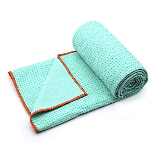Yoga Towel,Hot Yoga Mat Towel - Sweat Absorbent Non-Slip for Hot Yoga, Pilates and Workout 24' x72(Grip Dots,Green)