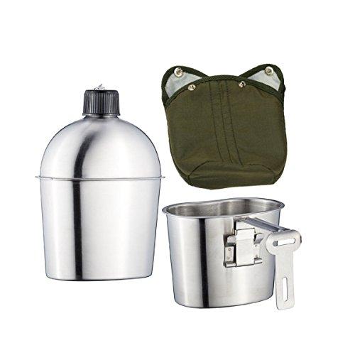 Kitchnexus Militare In Acciaio Inox 1L Mensa Con 0.6L Tazza Con Copertura In Nylon Verde Campeggio Escursionismo Sopravvivenza Bottiglia Acqua