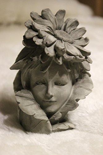 Blumenkind Aster, H 12 cm, aus Resin, betonfarben, z. Aufstecken auf Stab, Lieferung ohne Stab