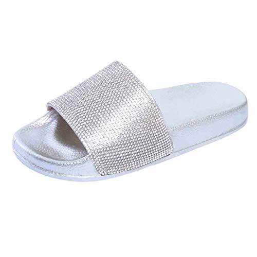 Dorical Hausschuhe Damen Glitzer Sandale Pantoletten Flandell Sandalen Outdoor Sommerschuhe Sandaletten Dusch Badeschuhe Flip Flops Rutschfest Leicht Badesandalen Elegant Party Schuhe(Silber,37 EU)