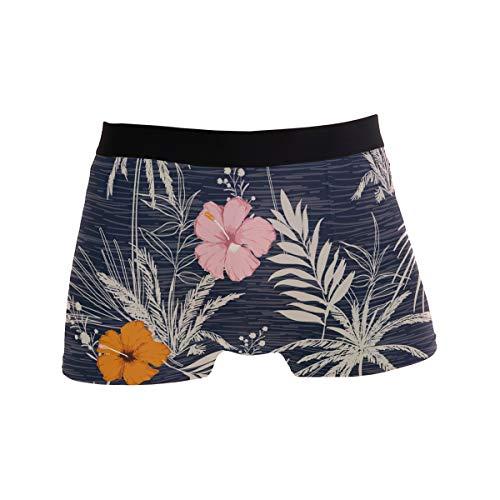 Bonipe Sommer Hawaii Tropische Exotische Blumen Blätter Boxershorts Herren Unterwäsche Jungen Stretch Atmungsaktiv Low Rise Trunks S Gr. X-Large, mehrfarbig