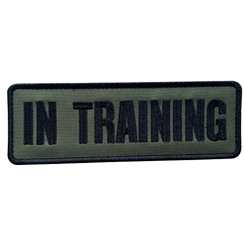 uuKen Embroidery Fabric Cloth Police K9 in Training Service Dog Embroidered Military Tactical Patch 6x2 inches with Hook Fastener Back for Tactical Vest or Harness (OD Green and Black, 6'x2')
