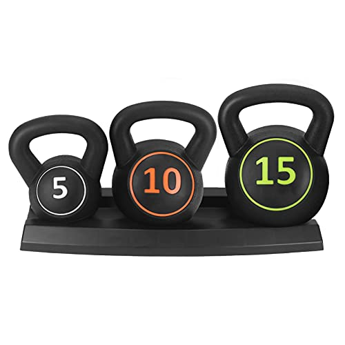 3Pcs Kettlebell Set 5Lb 10Lb 15Lb Kettlebells with Tray for Home And Gym Fitness Workout Equipment for Bodybuilding