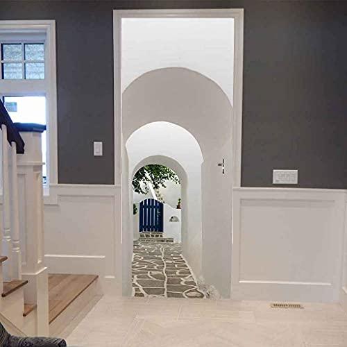 NXCNTD 3D Etiqueta De La Puerta Callejón de la pared blanca Impermeable Extraíble Bricolaje Pintura Mural Murales Autoadhesivos Papel Tapiz Interiores Puerta Del Dormitorio Decoracion 77x200cm