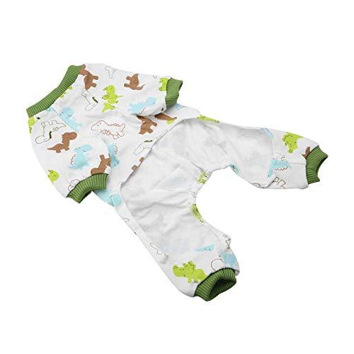 SALUTUYA Petit Pyjama de Dessin animé de Chiot de Chien de vêtements de Coton pour Animaux de Compagnie pour(SY04 Dinosaur, M)