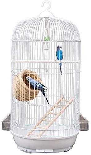 Zjcpow, gabbie rotonde in metallo per pappagalli, da balcone, da laboratorio per uccelli, per cacatue, parrocchetti monaci (colore: bianco, dimensioni: 33,5 x 33,5 x 71 cm) xuwuhz