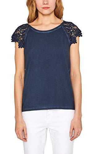 ESPRIT Damen 049EE1K027 T-Shirt, Blau (Navy 400), Large (Herstellergröße: L)