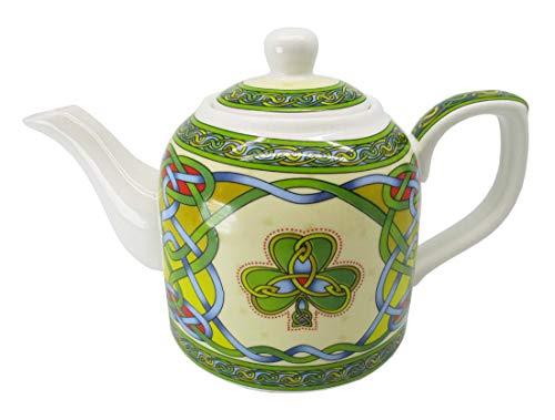 Royal Tara Shamrock Porcelain Teapot - Irish Tea Pot Celtic Knot Tea Kettle with Removable Lid - Made of New Bone China Dishwasher Microwave Safe Gift by Clara H 12.5 cm W 20 cm Capacity 0.65 lt