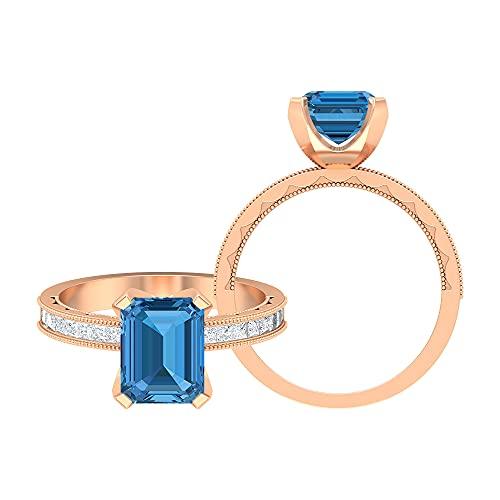Anillo milgrain de oro de 3 quilates con solitario de zafiro azul ártico y piedra lateral moissanita (calidad AAAA), 14K Oro rosa, Size:EU 65