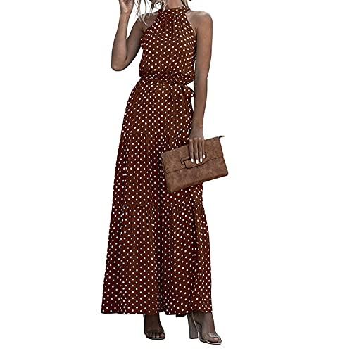 Ny sommar polkaprickigt tryck halterneck rem klänning lång kjol