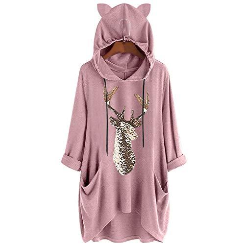 VEMOW Damenmode Tasche Lose Kleid Damen Rundhalsausschnitt beiläufige Tägliche Lange Tops Kleid Plus Größe(Z2-Rosa, 46 DE/L CN)