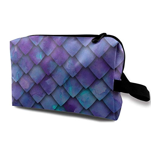 Dragon Scales - Purple_299 Travel Cosmetic Bag Compliant Bag Travel Cosmetic Makeup Bags Mirror Dark Blue